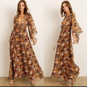 Palm leaf Maxi dress
